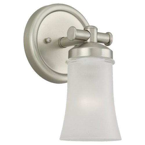 Sea Gull Lighting 44482BLE 965 Energy Star Single Light Newport Bath Sconce, Clear Highlighted Satin Etched Glass Shade and Antique Brushed Nickel