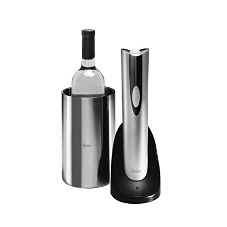 Chills wine and opens up to 30 bottles on a full charge--with the touch of a button. View larger      Oster Electric Wine Bottle Opener & Wine Chiller Celebrate the Moment in Sophisticated Style There's just something about opening a bottle of wi...