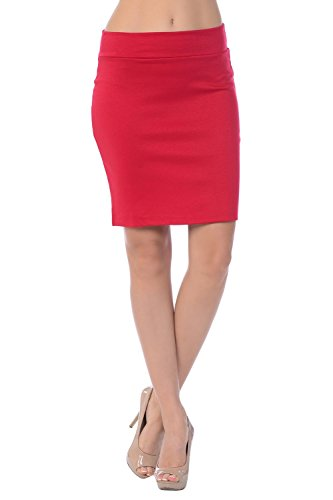 Jubilee Couture Women's Ponte Roma Mini Pencil Skirt (Large, Red) (Red Pencil Skirt compare prices)