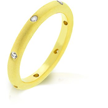 14k Matte Gold Bonded Wedding Eternity Band with Bezel Handset Clear CZ in Goldtone