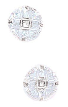 14k White Gold 10mm 9 Segment Round CZ Light Prong Set Earrings - JewelryWeb
