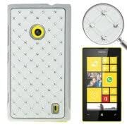 Luxury Bling Diamond Plating Skinning Plastic Case for Nokia Lumia 520 (White)