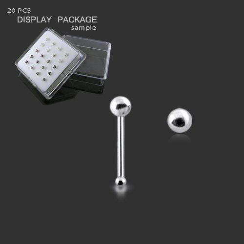 20G-6MM Ball End 20 Pieces Pack in Mini box 925 Silver Top ball Nose stud Piercing Jewellery