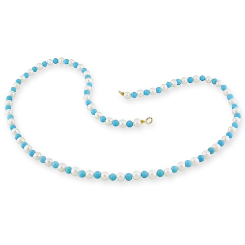 10K Yellow Gold Turquoise Freshwater White Pearl Necklace (18 in) (4-5.0mm)
