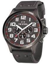 TW Steel Herren-Armbanduhr XL Pilot Chronograph Quarz Leder TW-423