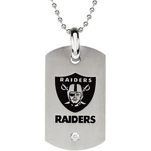 Oakland Raiders Official NFL Logo Dog Tag Necklace with CZ, 27 by The Men
