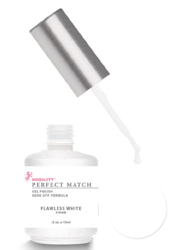 LeChat Perfect Match DUAL SET Soak Off Gel Polish and Dare to Wear Nail Lacquer Flawless White PMS07