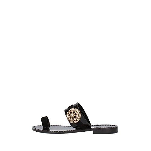 CALPIERRE sandali donna 36 EU nero vernice camoscio AG741