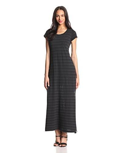 Splendid Women's Short Sleeve Pocket Top Stripe Maxi Dress  [Matte Black]