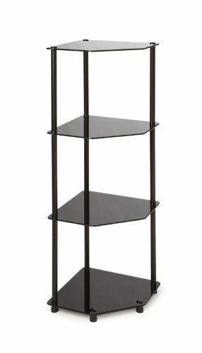 Convenience Concepts Designs2Go Midnight Classic 4-Tier Glass Corner Shelf, Black Glass