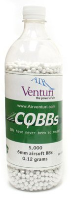 Air Venturi CQBBs 6mm biodegradable airsoft BBs, 0.12g, 5000 rds, white
