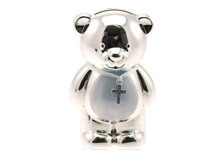 Christening Gift Silver Plated Blue Enamelled Teddy Money Box