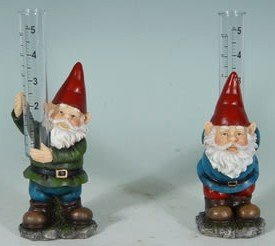 Decorative Gnome Garden Rain Gauge Pair