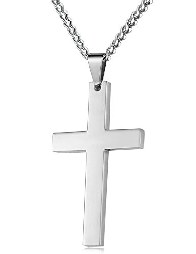 FIBO STEEL Stainless Steel Cross Pendant Chain Necklace for Men Women, 22-24 Inches by FIBO STEEL