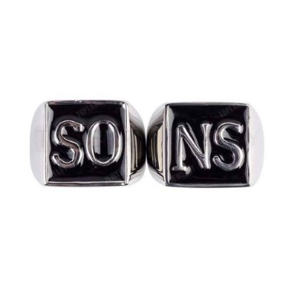 Sons of Anarchy SO/NS Stainless Steel with Black Enamel Ring Set Size 11
