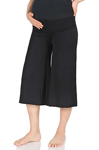 Beachcoco Women's Maternity Comfortable Capri Pants (M, Black)