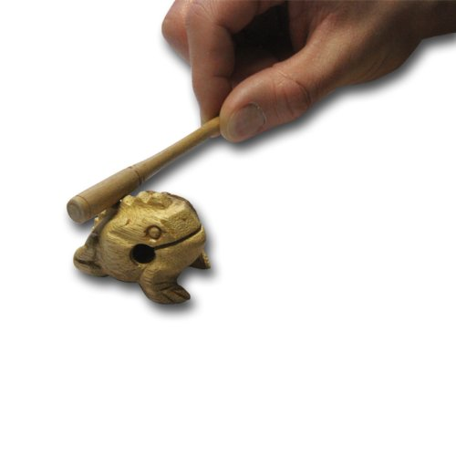 Nino Percussion NINO517 Extra Small Wood Frog Guiro, Natural Finish