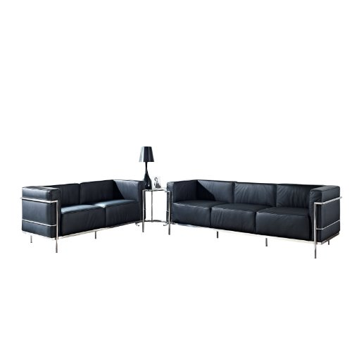 LexMod Leather Le Corbusier-Style LC3 Loveseat and Sofa in Black with Eileen Gray Side Table
