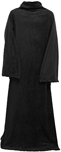 AshopZ Warm Winter Sofa Snuggle Sleeved Fleece Throw Blankets, Black