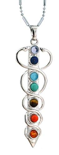 Seven Chakras Balancing Reiki Simulated Amethyst Pendulum Meditation Healing Necklace (Sword)