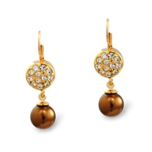 Formal Bronze Pearl and Gold Earring
