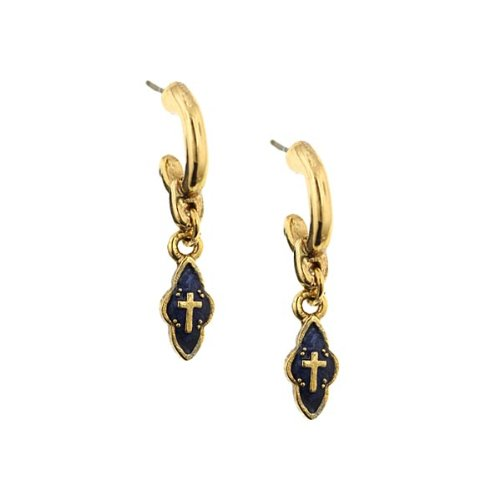The Vatican Library Collection Delicate Inspirations Blue Cross Earrings