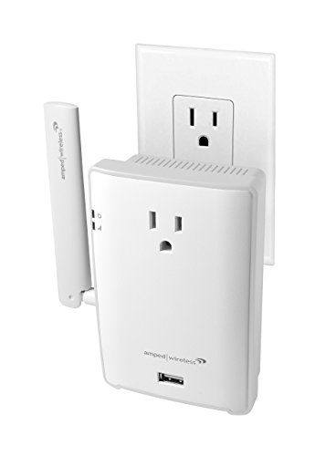 Amped Wireless High Power Plug-In AC1200 Wi-Fi Range Extender with Pass Thru Outlet & USB Charging (REC22P) (Plug In Gigabit compare prices)