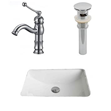 "American Imaginations AI-13266 CUPC Rectangle Undermount Sink Set with Single Hole CUPC Faucet and Drain, 20.75"" x 14.35"", White"