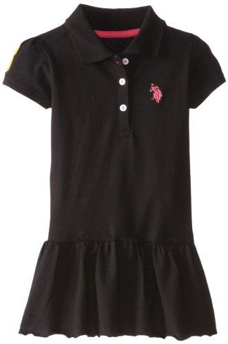 U.S. Polo Assn. Little Girls' Solid Baby Pique Scalloped Hem Polo Dress, Black, 4T