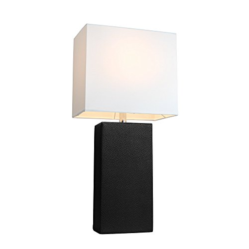 Elegant Designs LT1025-BLK Modern Genuine Leather Table Lamp, Black picture