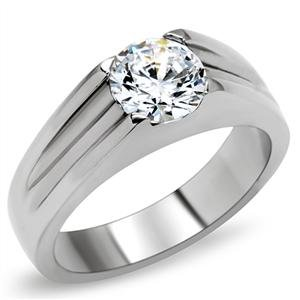ENGAGEMENT RING - High Polished Stainless Steel with Big Clear Round Cut CZ Solitaire Ring