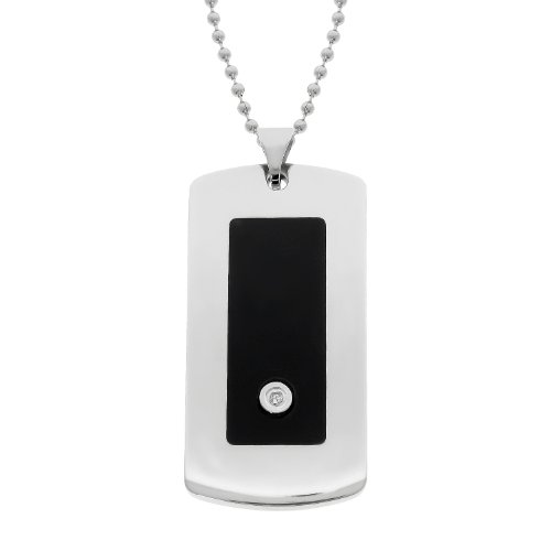 Men's Stainless Steel Dog Tag Pendant Necklace with Diamond-Accent and Resin, 22''