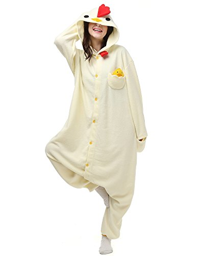 [Adult White Cock Onesie Halloween Kigurumi Costume Pajamas Partywear Outfit for Women Men L] (Animal Costumes Coupon Code)