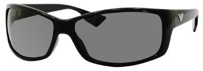 Emporio Armani Men's 9618 Shiny Black Frame/Grey Lens Plastic Sunglasses