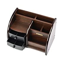 Wooden Ladder Style Dark Brown,Desktop Organizer with 2 Drawers,Pencil / Pen Holder And KLOUD Cleaning Cloth