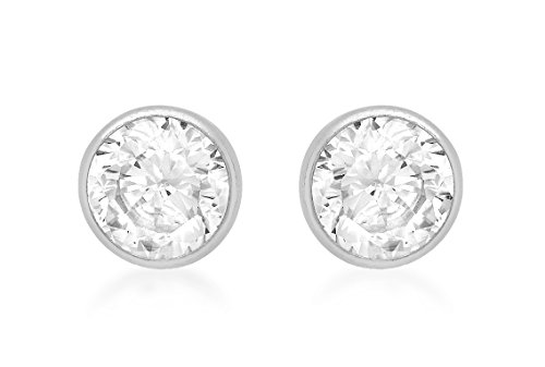 Carissima 9ct White Gold 5mm Round Cubic Zirconia Stud Earrings