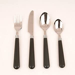 16PC BLK Flatware Set