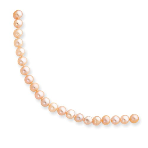 14k Yellow Gold 16in 5.5-6mm Pink Freshwater Onion Cultured Pearl Necklace.