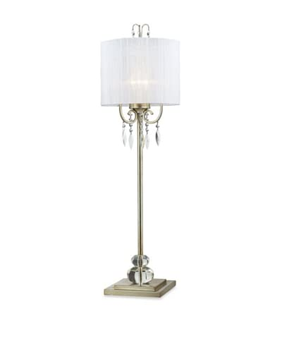 Artistic Lighting Albion Tall Buffet Lamp, Silver Leaf/White