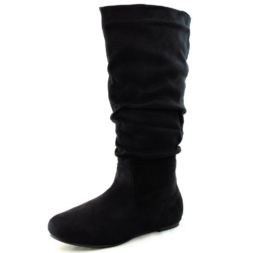 Women's Round Toe Boots Mid Calf Knee High Flat Heel Comfortable Slouch Fashion Shoes