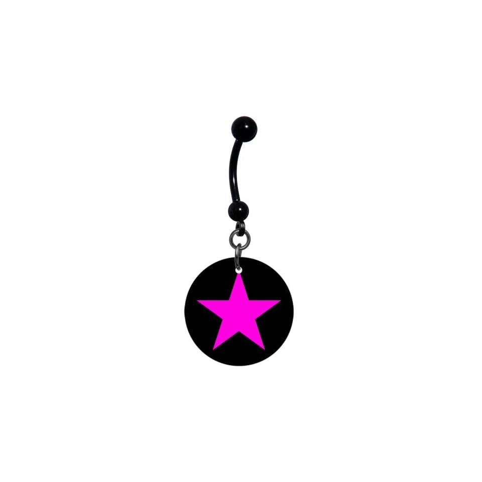 Black Pink Star Belly Ring