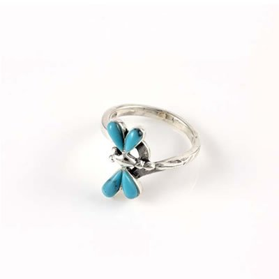 Dragonfly Ring with Genuine Turquoise in Sterling Silver for Girls - Size 4