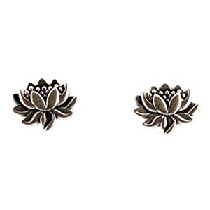 Tiny Detailed Lotus Flower Stud Earrings in Sterling Silver, Suitable for Adults or Children, #7582