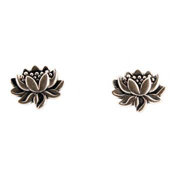 Tiny Detailed Lotus Flower Stud Earrings in Sterling Silver, #7582