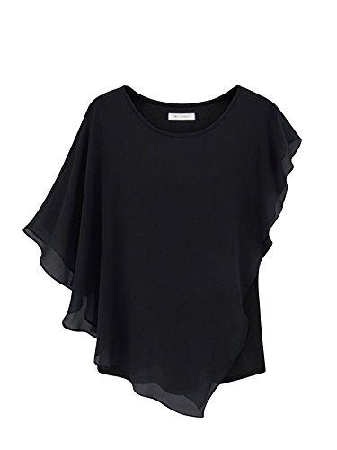 Molly Frau Tunika Oberteile Chiffon Schläger Hülle Hemden Bluse Größe XL Schwarz