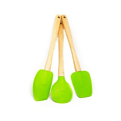 Quicklids QL-WS-GR Silicone Spatulas with Wooden Handles (Set of 3), Green (Silicone Spatula Set Wood compare prices)