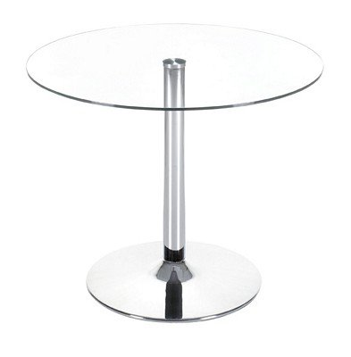 Image of Glass Top Table With Steel Base (B000PBR6N8)