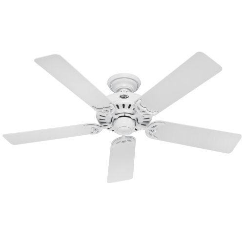 Hunter 25517 Summer Breeze 52-Inch 5-Blade Ceiling Fan, White with White/Bleached Oak Blades