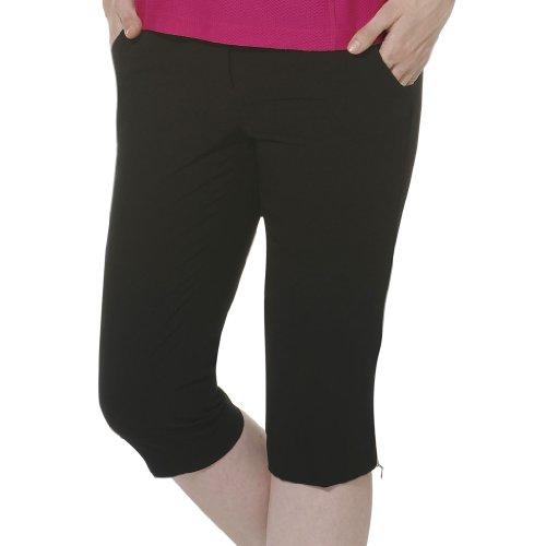 Monterey Club Ladies Stretchable Peach Twill Capri #2823 (Black, Size:14)