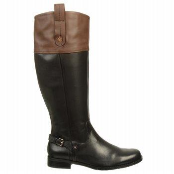 Tommy Hilfiger Women'S Hamden Boot,Black/Dark Cognac,9.5 M Us